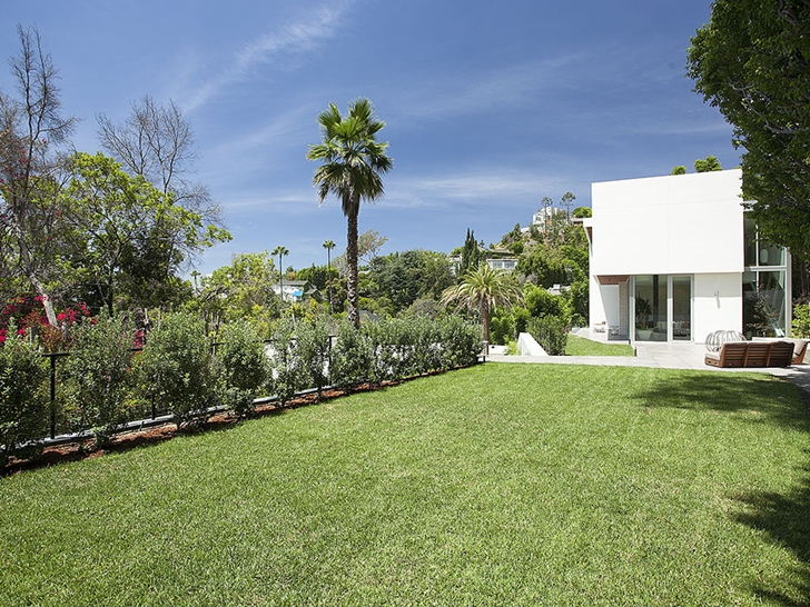 Backyard vegetation in Sunset Plaza Drive modern mansion in Los Angeles