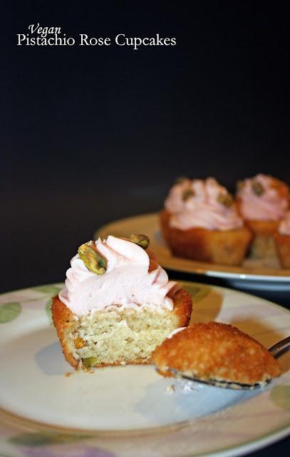 vegan pistachio rose cupcakes