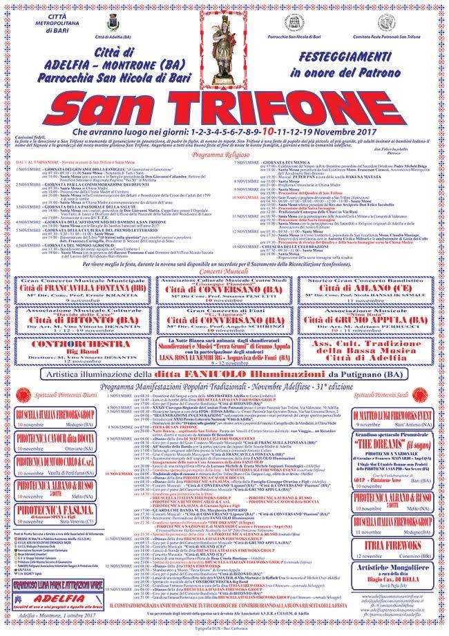 SAN TRIFONE 2017 BARI-ADELFIA-ITALIA  1-19/NOVIEMBRE