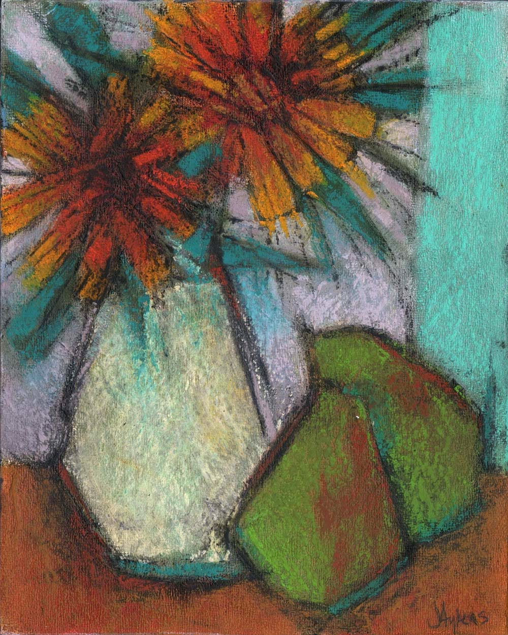 Contemporary Still Life Oil Painting Artist Janine Aykens Rustic Quirky Primitive Folk Art Flowers Pears Fruit