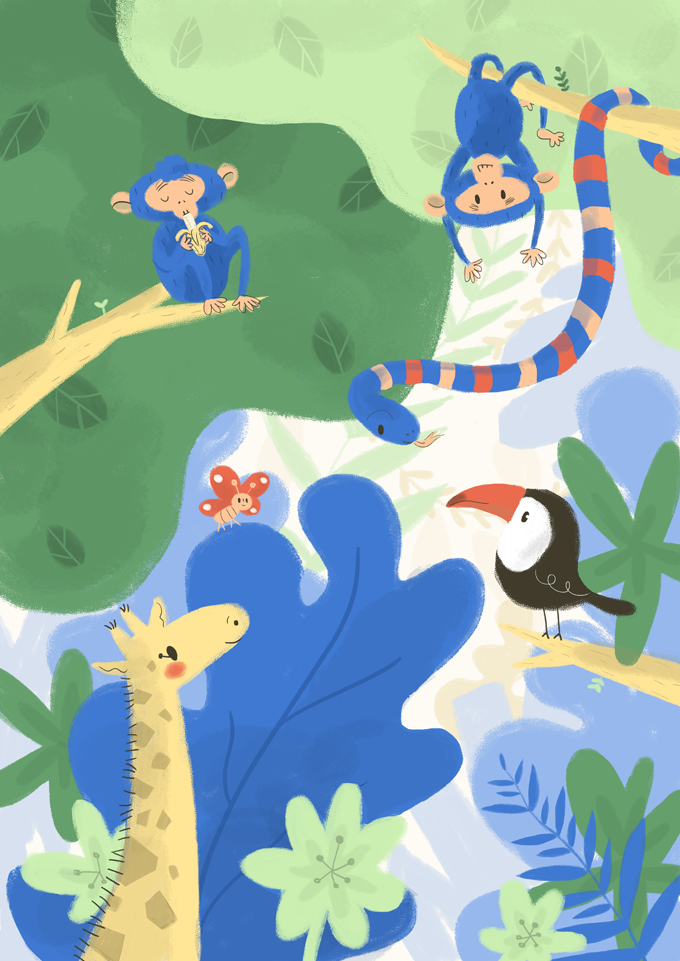 jungla, jungle, monkeys, illustration, ilustración, tucan, cute animals