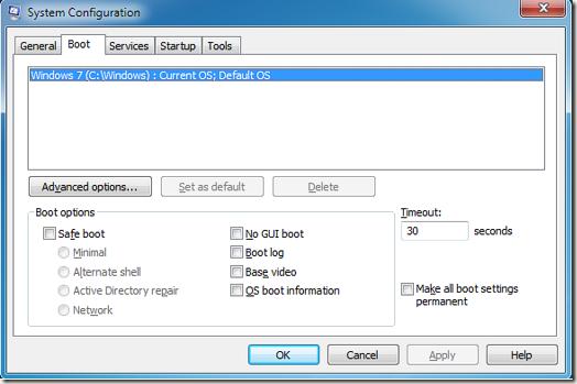 tampilan antar muka system configuration atau msconfig tab boot