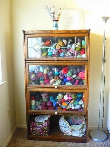 A Glass Front Cabinet Keeps You Yarn Safe And Sound, But You Also Get To  Look At All The Pretty Colors!