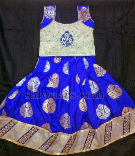 Blu and Cream Silk Lehenga