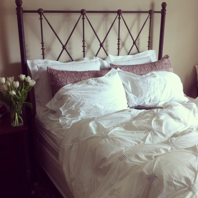 that would be a photo of my bed i took before my sunday nap last week you know how i love my naps the duvet and the pillow shams came from homegoods