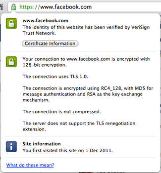 SSL showing for Facebook on Google Chrome