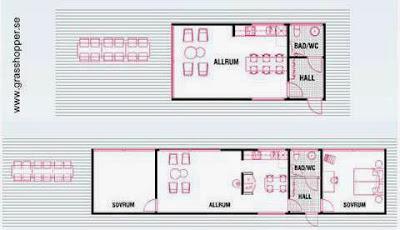 Planos de plantas de módulos habitables sobre plataforma de madera