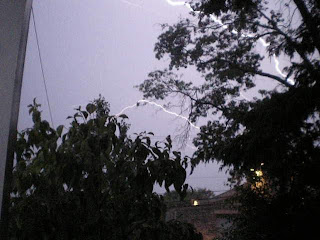 Anatomy of a lightning strike frame 9: The second bolt extends across the sky as the third subsides...