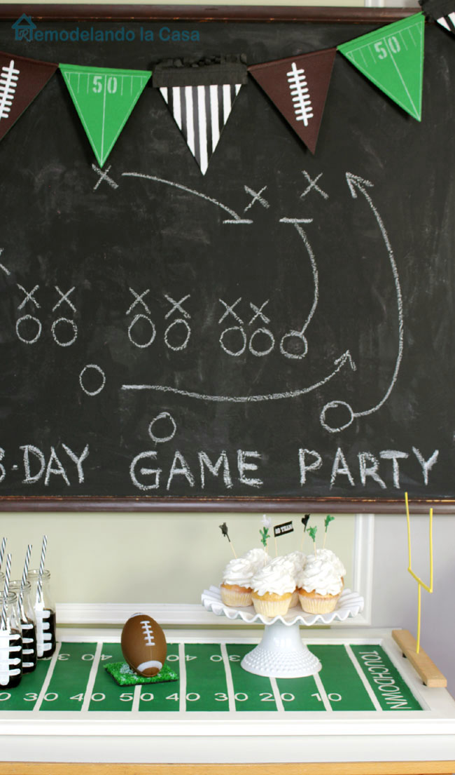 Chalkboard for Football Game day with game strategy
