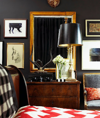 accessories manly, masculine bedroom, tailored bedding, warm interiors, art in the bedroom