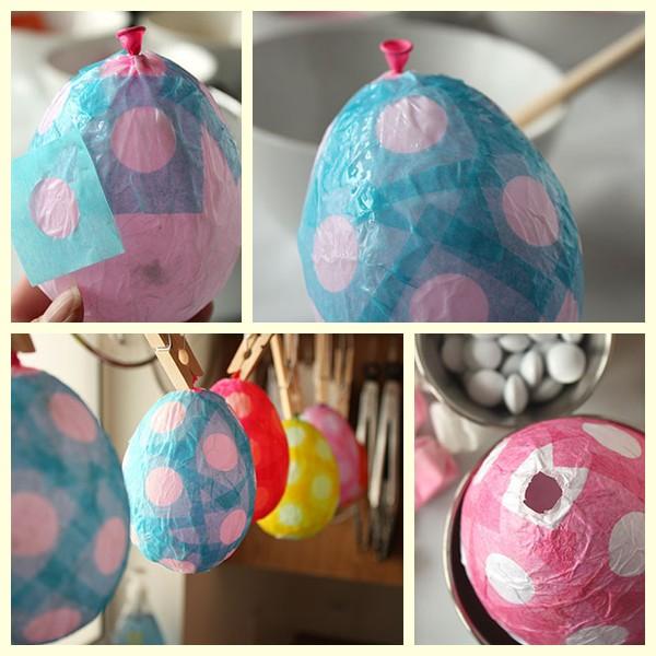 Paso a paso de los huevos de Pascua de papel maché