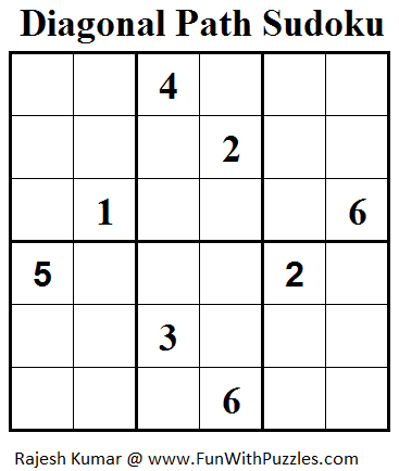 Diagonal Path Sudoku (Mini Sudoku Series #37)