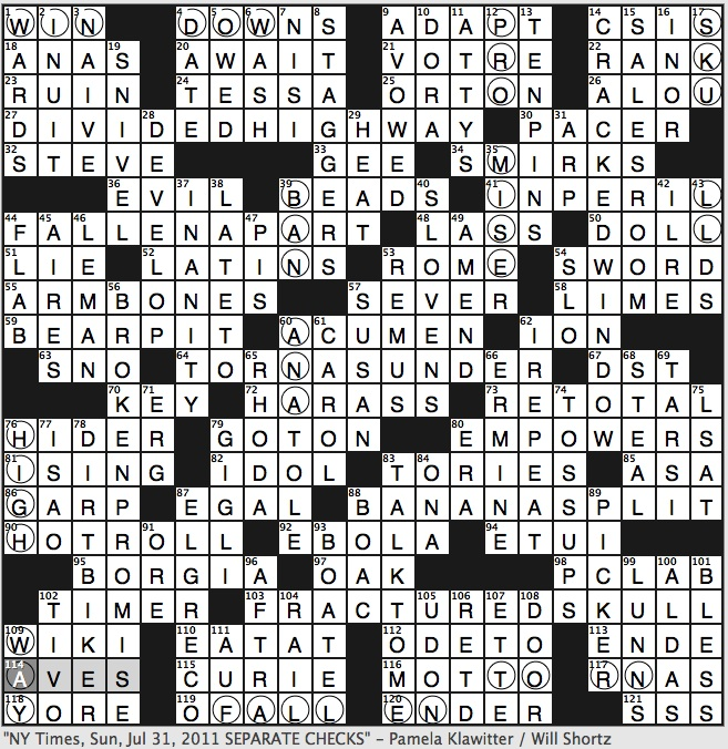 Rex parker does the nyt crossword puzzle july 2011 sunday july 31 2011 spiritdancerdesigns Images