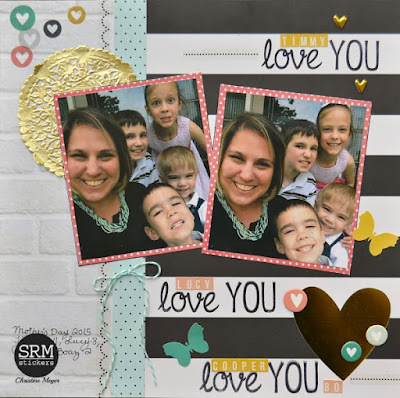 SRM Stickers Blog - BIG Love Layout by Christine - #layout #BIGstamps #BIGlove #love #twine #stickers #stitches #gold #doilies