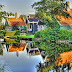 Beautiful River and Houses Beautiful Location wallpapers