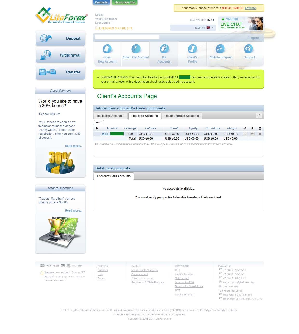 Liteforex client cabinet