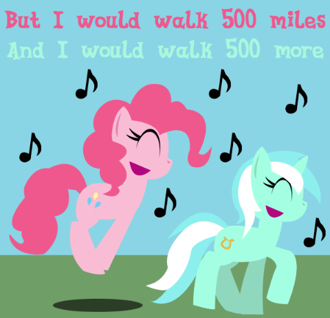 But I would walk five hundred miles And I would walk five hundred more Just to be the mare who walked a thousand miles