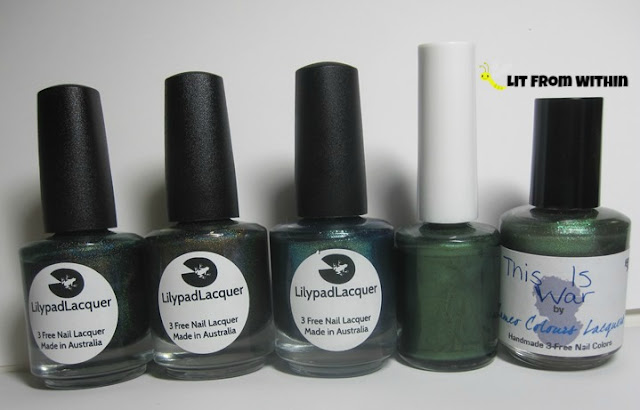 bottle shot:  Lilypad Lacquer in Emerald City, Wild at Heart, and Great Galaxy, followed by Carpe Noctem Woodland Camo and Cameo Colors Lacquer This Is War