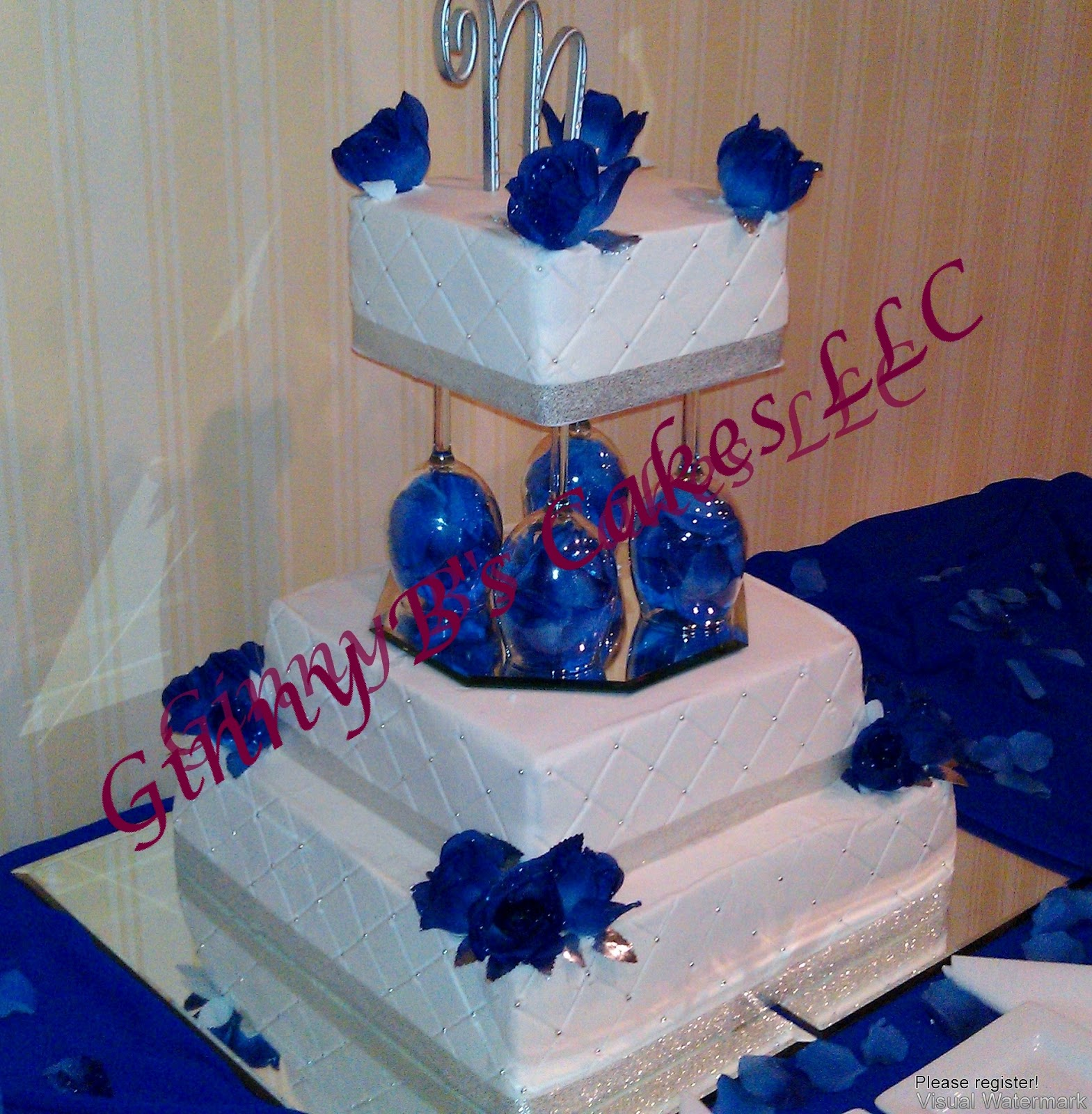 Royal Blue And Silver Wedding Cakes images