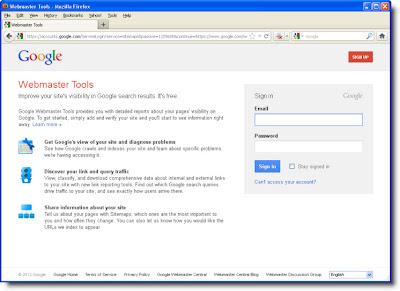 Halaman login ke Google webmaster