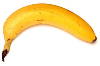 Banana, slightly brown, turned like a frown