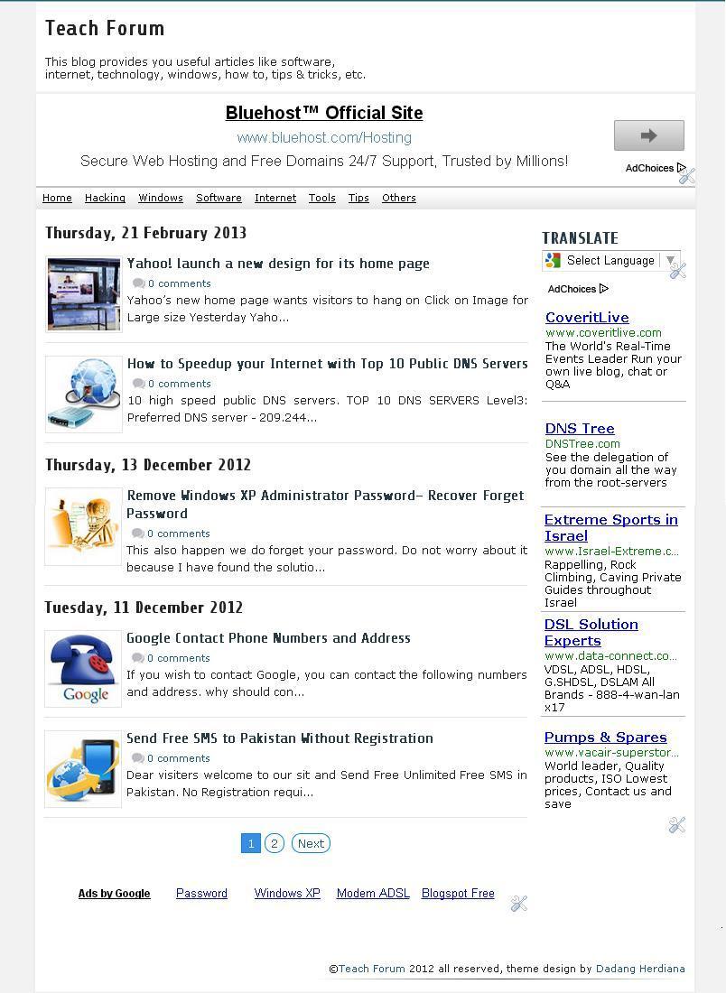 Teach Forum (News) Premium Blogger Template