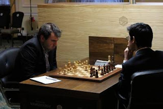 Echecs à Londres - ronde 3 : Shakriyar Mamedyarov (2729) 1-0 Anish Giri (2711) - Photo Macauley Peterson