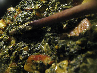 Saag Paneer (Chopped Spinach with Paneer Cheese)