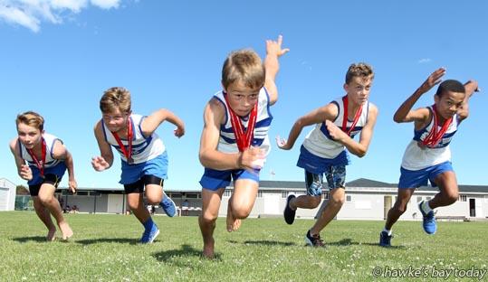 L-R: Coby Price, Cameron Dawson, Ryan Shotter, Connor Leslie and Josh Adegoke, Napier Athletics Club, Marewa Park, Napier. photograph