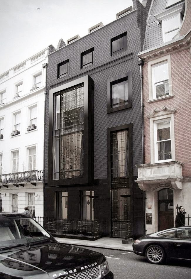 black row house london gray brick