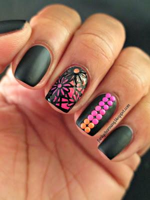 Nail Art Socient, Jessica Black Matte, neon, studs, flowers, black, matte, nails, nail art, nail design, mani