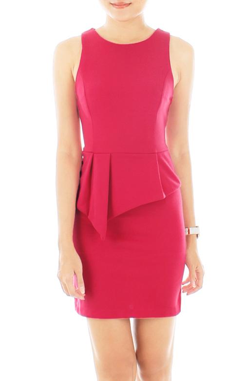 Akira Peplum PETITE Dress - Cerise Pink