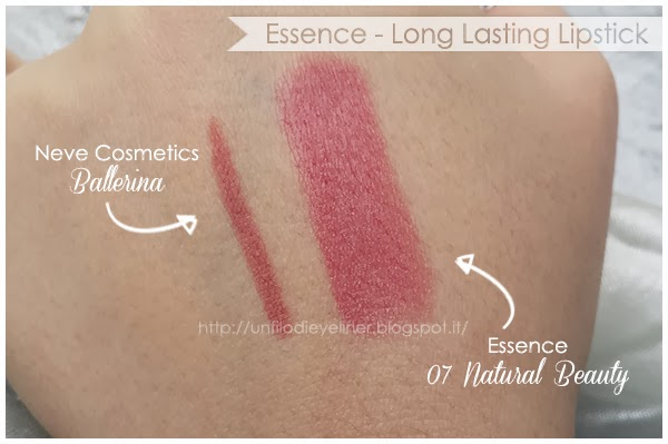 swatch long lasting lipstick essence 07 natural beauty