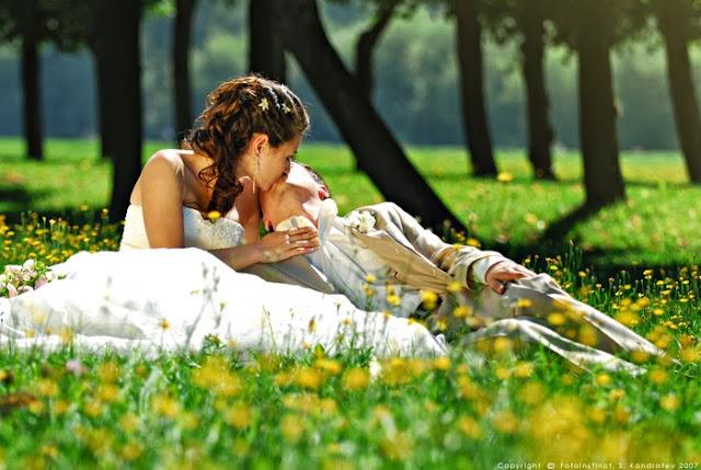 жених и невеста в траве