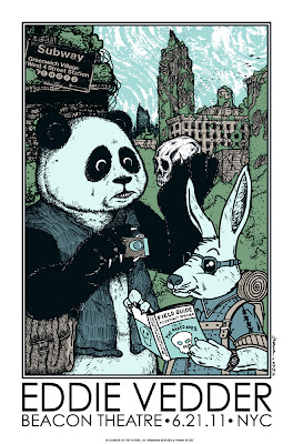 Eddie Vedder New York City 6.21.11 Concert Poster by Jermaine Rogers and Frank Kozik