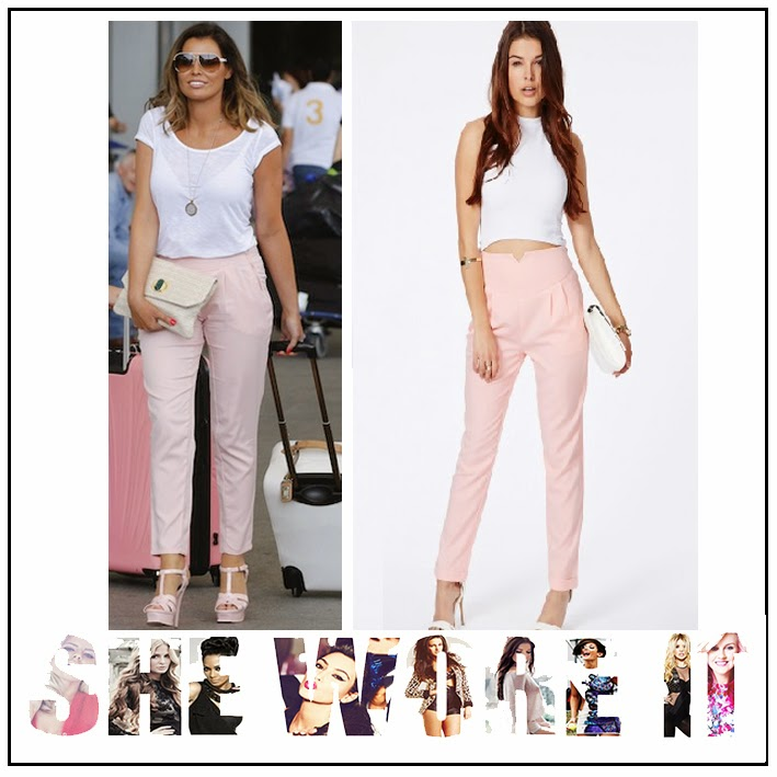 Cigarette Trousers, High Waisted, Jessica Wright, Missguided, Pale Baby Pink, Pleating Detail, The Only Way Is Essex, TOWIE,