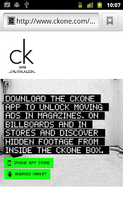 CK One mobile site with app download buttons