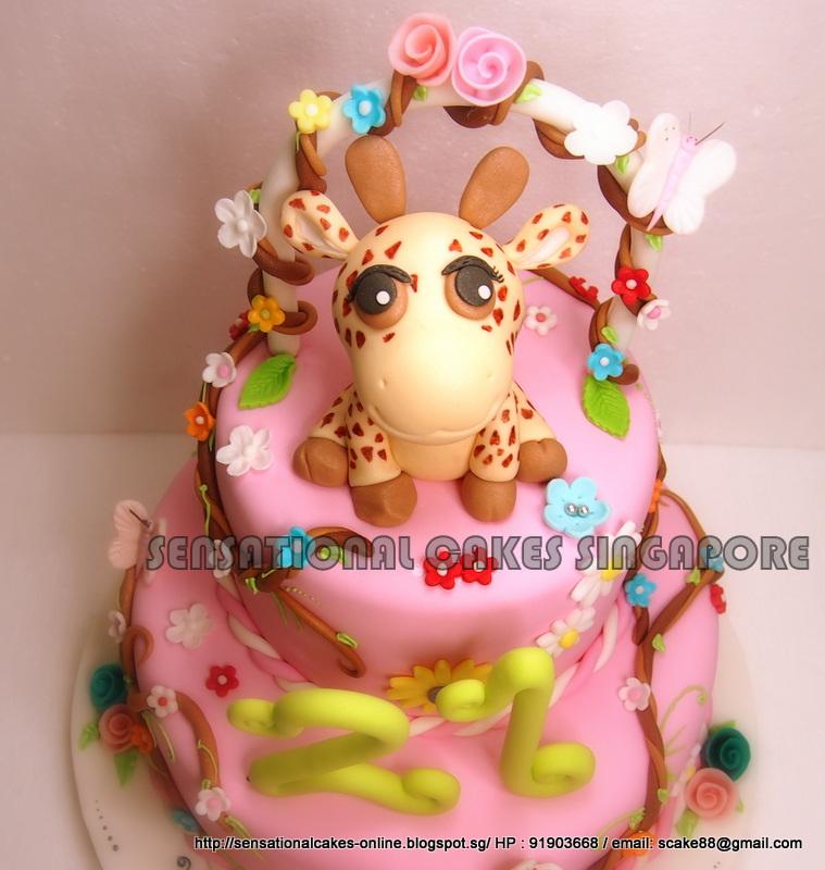 The Sensational Cakes GIRAFFE CAKE SINGAPORE 1ST BIRTHDAY PINK