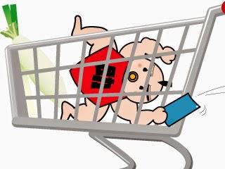 買い物カートに乗りながらはがきを引きはがす赤ん坊時代の助太力くんのイラスト