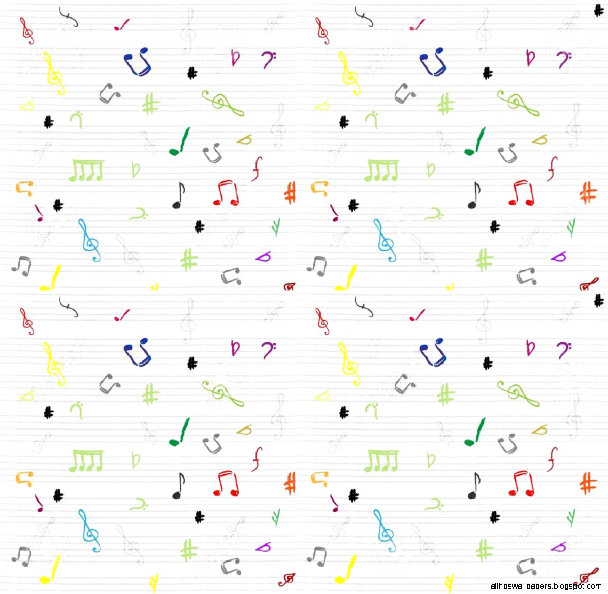 Seamless Pattern Wallpaper Of Musical Notes Royalty Free Cliparts