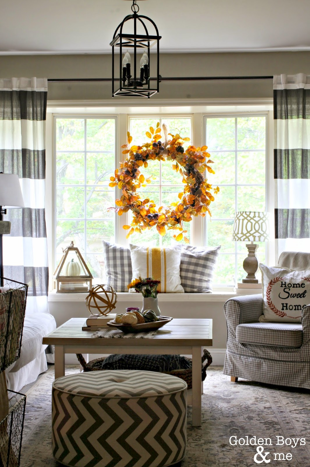Striped drapes in Fall Living Room-www.goldenboysandme.com