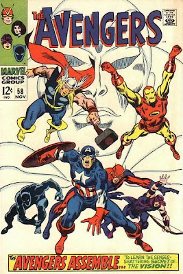 Avengers #58, Thor, Iron Man, Captain America, Goliath, Hawkeye and the Black Panther head burst towards the reader as the Vision watches on in the form of a gigantic face, white cover, John Buscema
