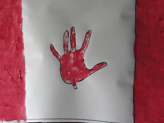 Canadian flag hand print craft