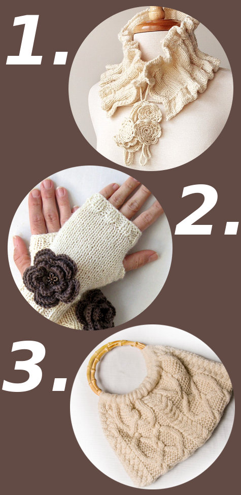 Cream Colored Hand Knit Fall Fashion Accessories
