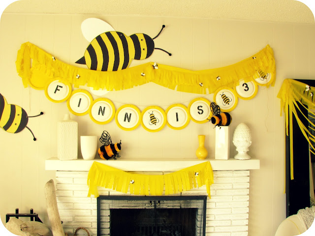 My house of giggles a yellow bumble bee birthday party for Bee decorations for the home