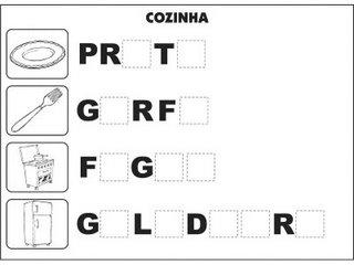 Jogos e atividades para alfabetização - Complete as palavras - Cozinha