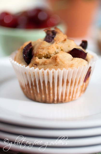Warm from the oven Gluten-Free Cherry Almond Muffin