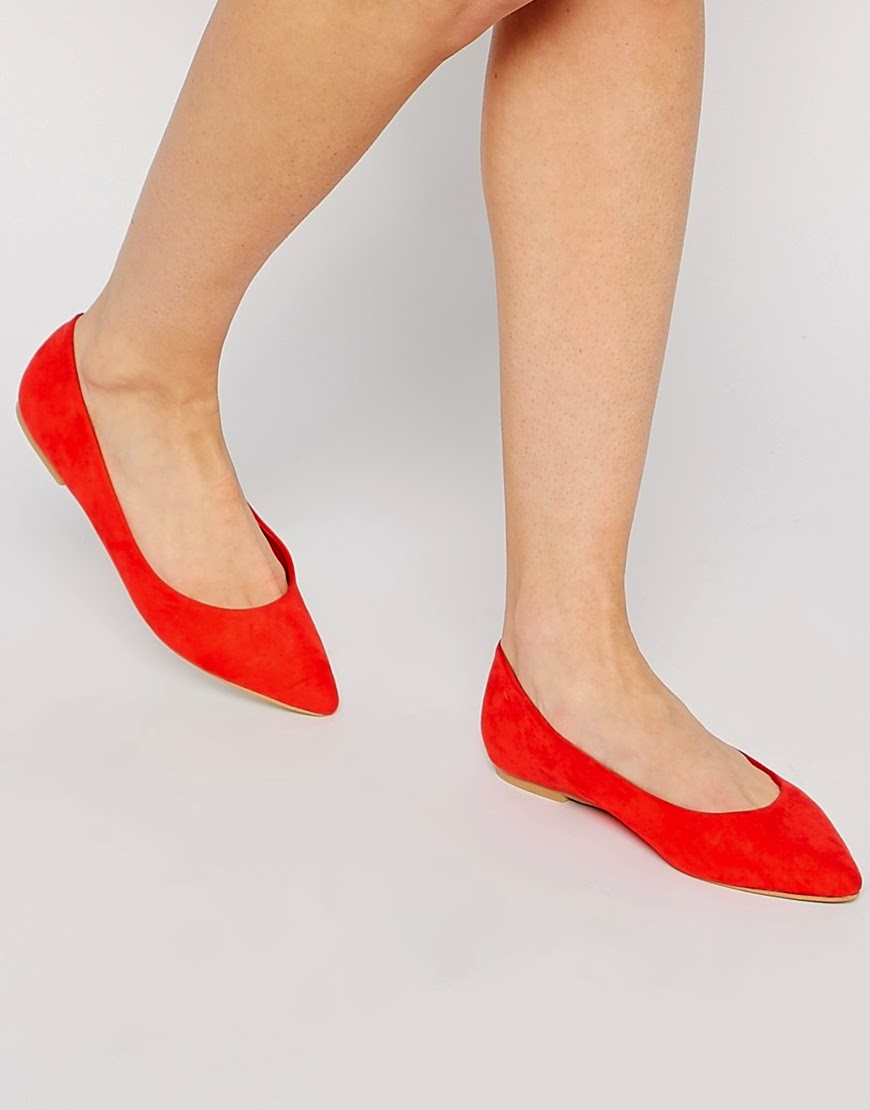 red pointed toe flats, red pointed toe shoes, red pointed shoes,