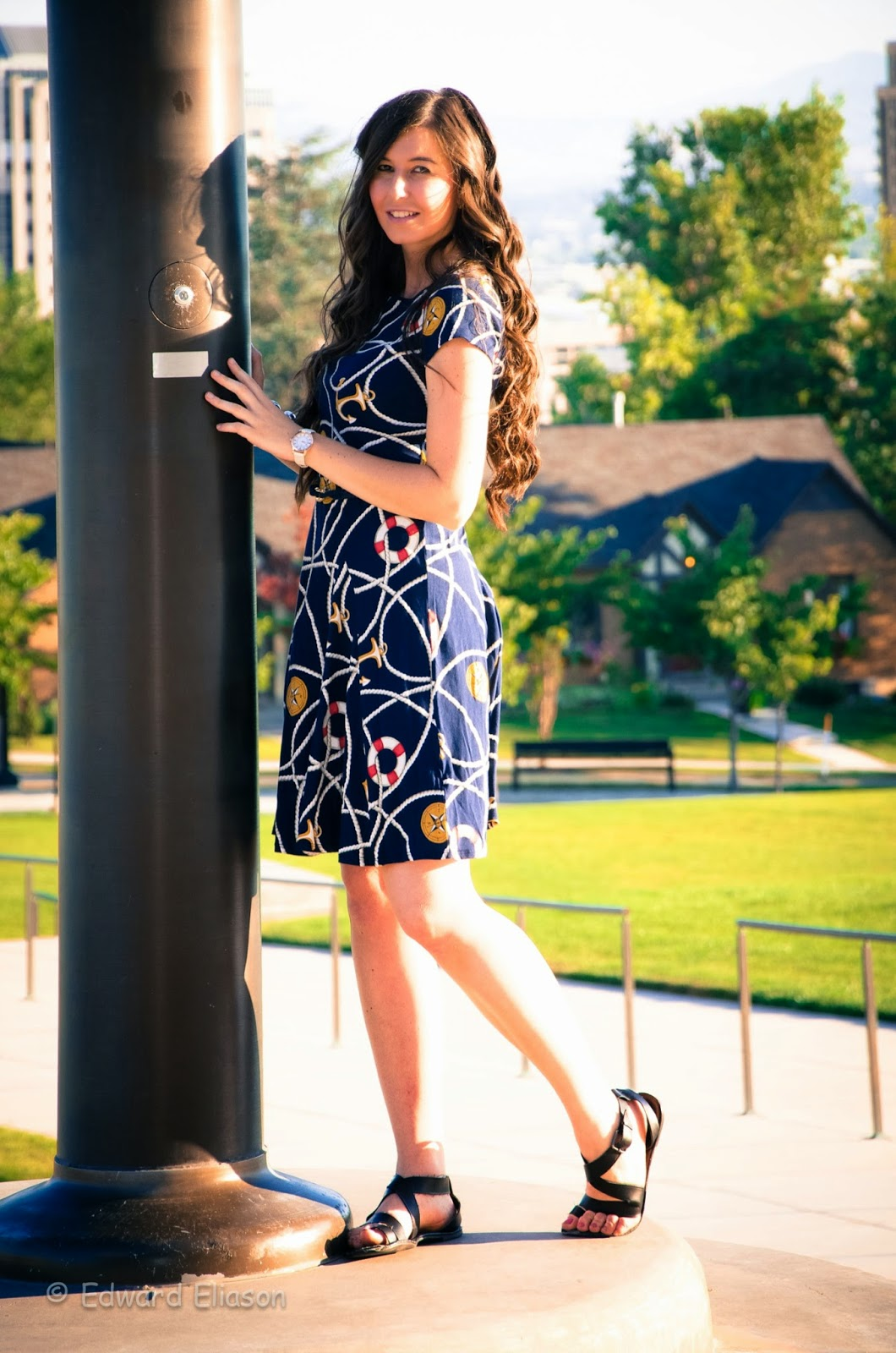 anchors trend, anchor dress, boating trend, anchors, ropes and anchors, fit and flare dress, roped dress, cute, capitol building, salt lake city capitol, salt lake capitol building,
