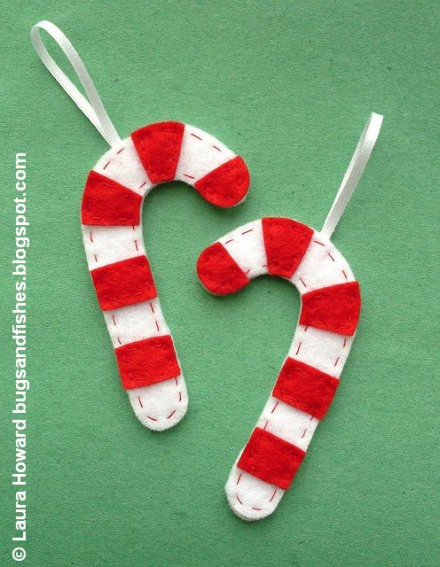 Bugs and fishes by lupin how to felt candy cane ornaments - How to make felt christmas decorations ...